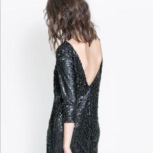 ZARA Black Low Back Dress